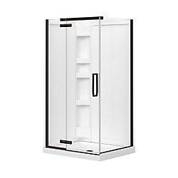 MAAX Davana 34-inch x 42-inch x 78 3/4-inch Corner Frameless Shower Stall in Dark Bronze