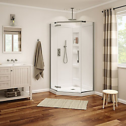 MAAX Davana 40-inch x 40-inch x 78 3/4-inch Neo-Angled Frameless Shower Stall in Brushed Nickel