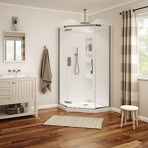 Davana 38-inch x 38-inch x 78 3/4-inch Neo-Angled Frameless Shower Stall in Brushed Nickel