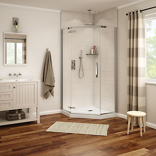 Davana 38-inch x 38-inch x 78-inch Neo-Angled Frameless Shower Stall in Chrome