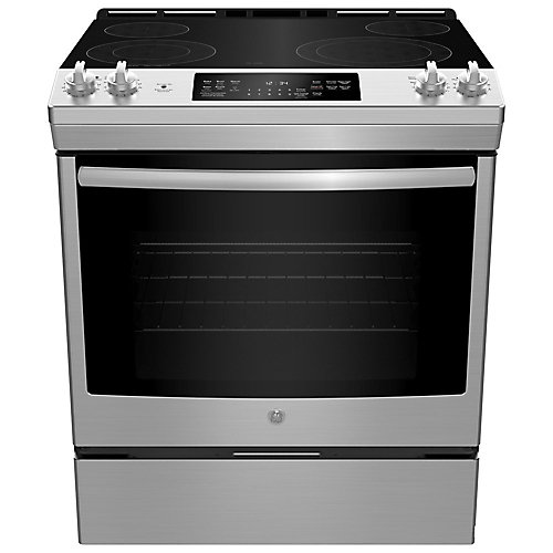 30-inch W 5.3 cu ft Slide In Front Control Electric Self-Cleaning Range in Stainless Steel
