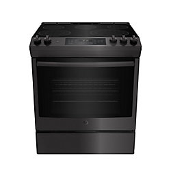 GE Slide In Front Control Electric 5.3 cu ft Self-Cleaning Ran - Black Stainless Steel