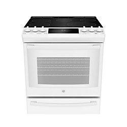 GE Slide In Front Control Electric 5.3 cu ft Self-Cleaning Ran - White