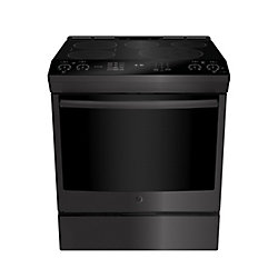 GE Slide In Front Control Induction 5.3 cu ft Self-Cleaning Ran - Black Stainless Steel