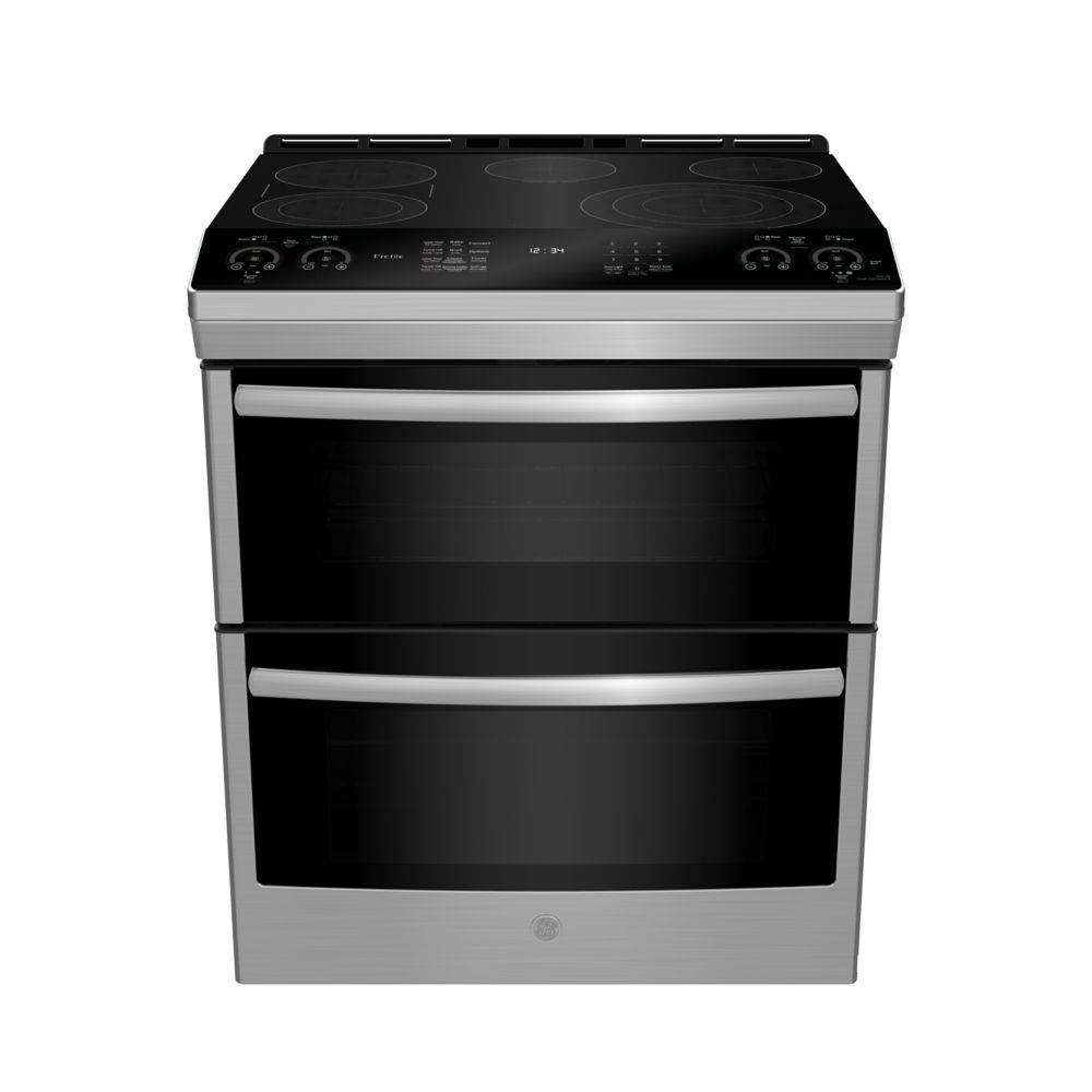 GE Slide In Front Control 6.7 cu ft Double Oven Self-Cleaning Ran - Stainless Steel