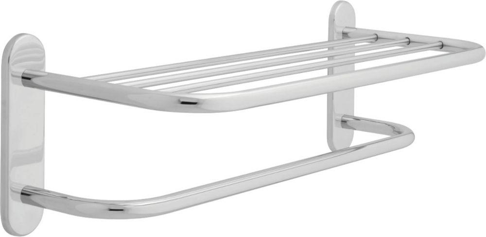 Delta 24 inch  Brass Towel Shelf with One Bar, Chrome