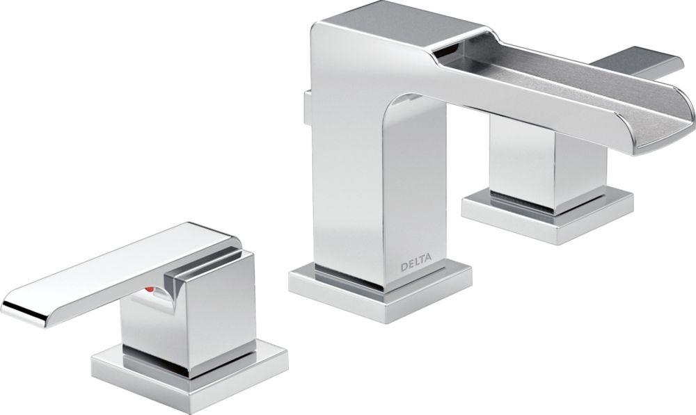 Delta Dryden Polished Nickel 2 Handle Widespread: Delta Ara Two Handle Widespread Lavatory Faucet With