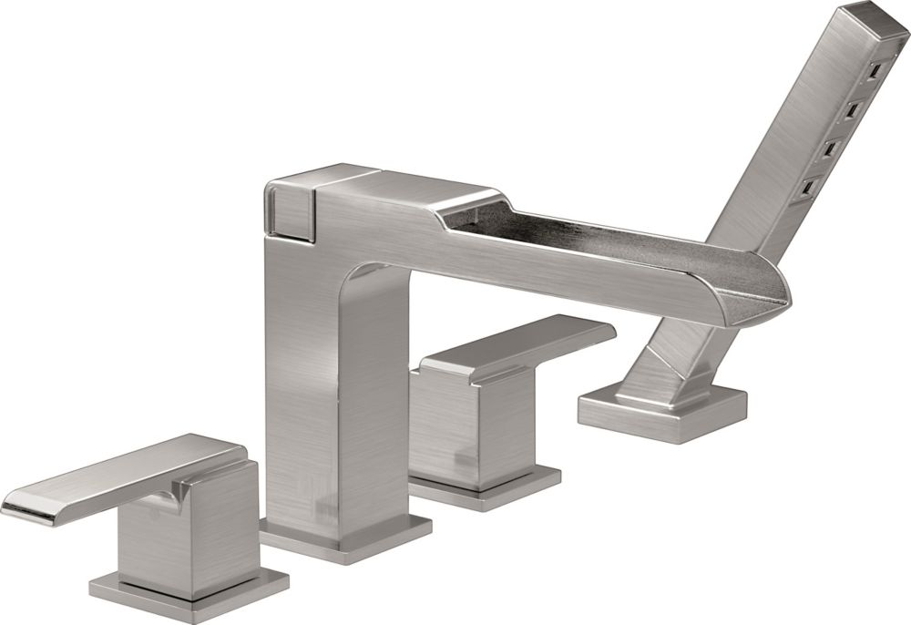 Delta Ara Roman Tub Trim with Channel Spout and Hand Shower, Stainless Steel