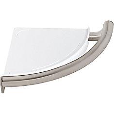 Contemporary Corner Shelf/Assist Bar, Stainless Steel