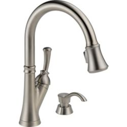 Delta Savile Single Handle Pull-Down Kitchen Faucet with Soap Dispenser, Stainless Steel