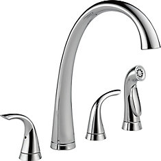 Pilar Two Handle Widespread Kitchen Faucet with Spray, Chrome