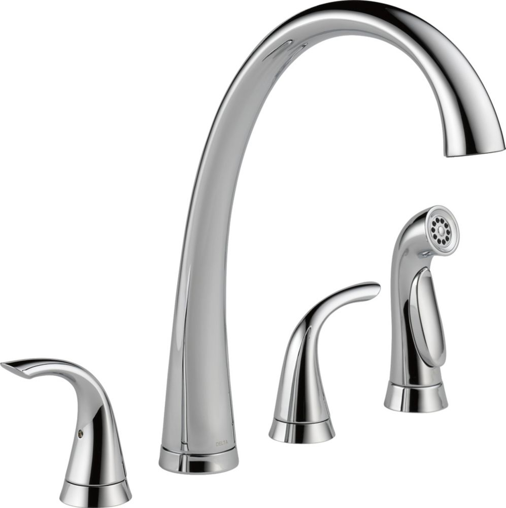 Delta Pilar Two Handle Widespread Kitchen Faucet with Spray, Chrome