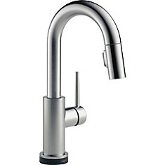 Trinsic Single Handle Pull-Down Bar/Prep Faucet Featuring Touch2O Technology, Arctic Stainless