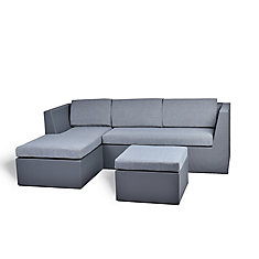 Alto Sling Mesh Patio Sectional Set with Grey Cushions