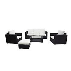 Ensemble de conversation en osier noir avec canapé 3 places