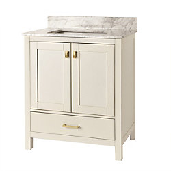 Home Decorators Collection 30-inch Franklin Square Collection White Vanity with Reversible Door Panels