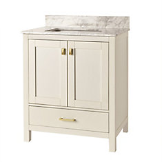 30-inch Franklin Square Collection White Vanity with Reversible Door Panels