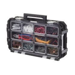 HUSKY 10-Compartment Interlocking Small Parts Organizer in Black