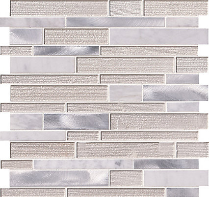 Msi Stone Ulc White Wave Interlocking 12 Inch X 4 Mm Glass Metal Mesh Mounted Mosaic Tile The Home Depot Canada