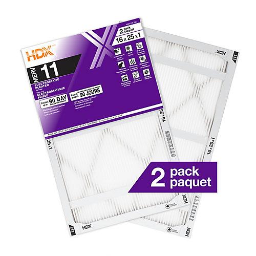 16-inch x 25-inch x 1-inch MERV 11 Furnace Filter (2-Pack)