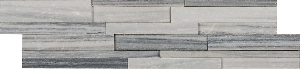 Alaska Gray 3D Ledger Panel 6-inch x 24-inch Honed Marble Wall Tile (60  sq ft /pallet)