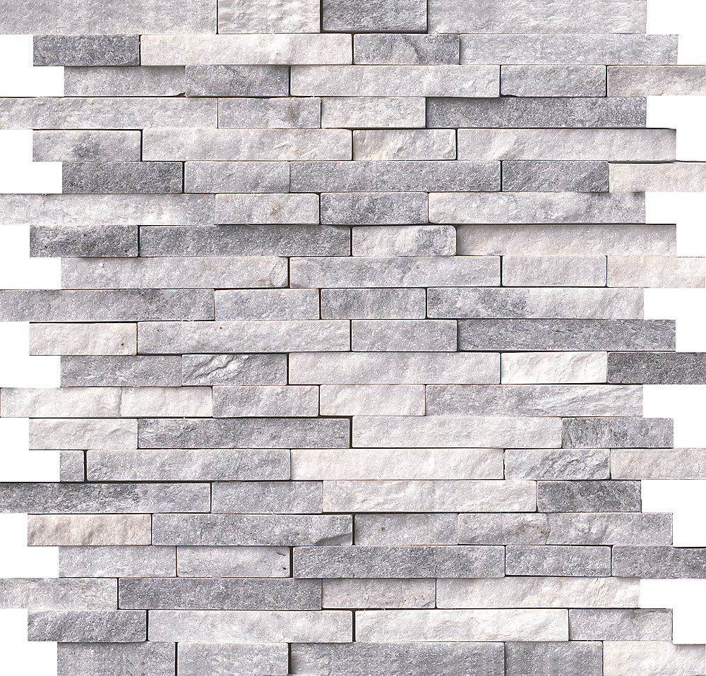 Alaska Grey Split Face 12-inch x 12-inch x 10 mm Marble Mesh-Mounted Mosaic  Tile (10 sq  ft  / case)
