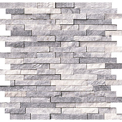MSI Stone ULC Alaska Grey Split-face 11.81-inch x12.4-inch Marble Mesh-Mounted Mosaic Wall Tile (10 sq. ft. / case)
