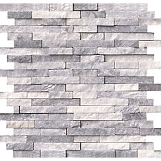 Alaska Grey Splitface 11.81-inchx12.4-inch Marble Mesh-Mounted Mosaic Wall Tile (10 sq. ft. / case)