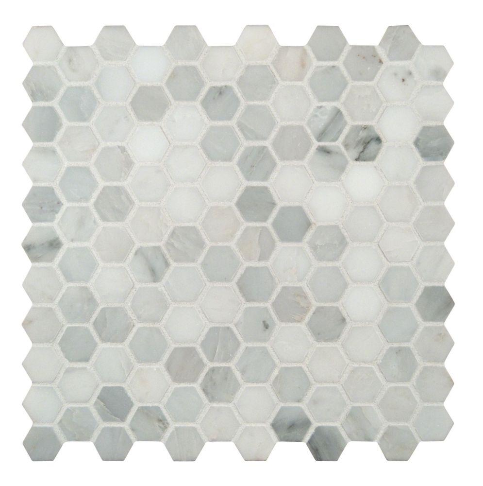 MSI Stone ULC Carr. mosaïq marbre tr. jet sable montés filet Arabescato Hexagon de 11,1 x 11,5 po (8,9 pi ca/bte)