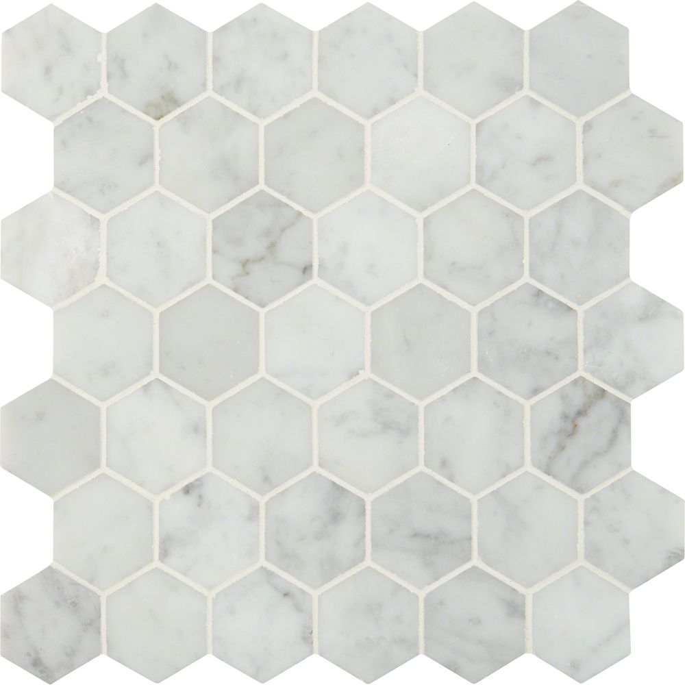 Carrara White Hexagon 12-inch x 12-inch Marble Mesh-Mounted Mosaic Tile (10 sq. ft. /case)