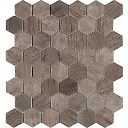 MSI Stone ULC Driftwood Hexagon 11.02-inchx12.76-inchx 6 mm Glass Mesh-Mounted Mosaic Tile (14.7 sq. ft. / Case)