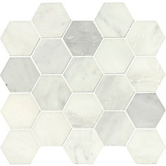 Grecian White Hexagon 12-inch x 12-inch Polished Marble Mesh-Mounted Mosaic Tile (10.6 sq.ft./case)
