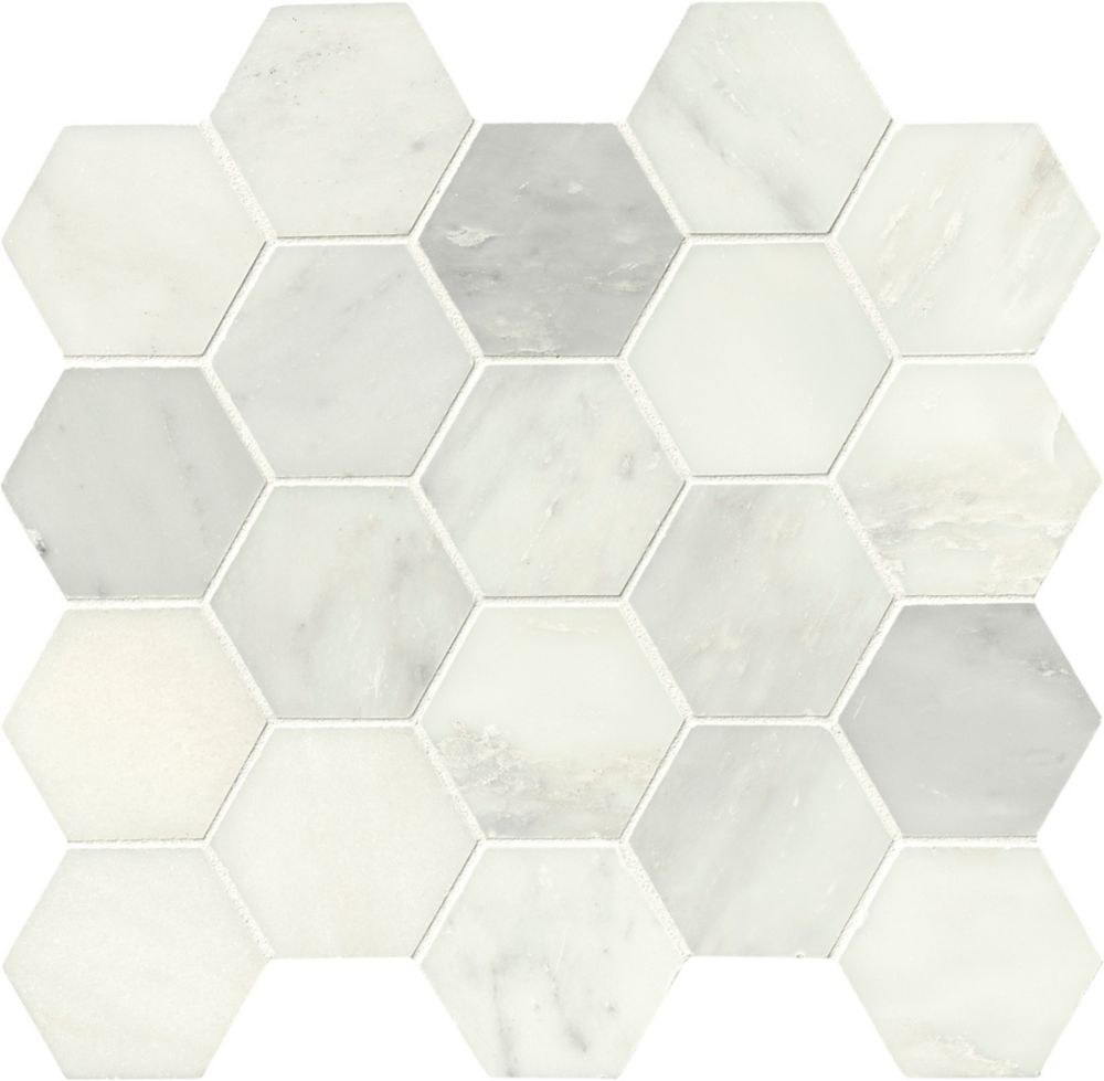 MSI Stone ULC Grecian White Hexagon 12-inch x 12-inch Polished Marble Mesh-Mounted Mosaic Tile (10.6 sq.ft./case)