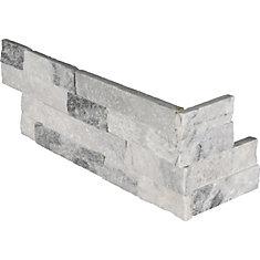 Alaska Gray Ledger Corner 6-inch x 18-inch Splitface Marble Wall Tile (4.5 sq.ft./Case)