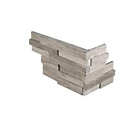 White Oak 3D Ledger Corner 6-inch x 18-inch Honed Marble Wall Tile (4.5 sq. ft. / Case)