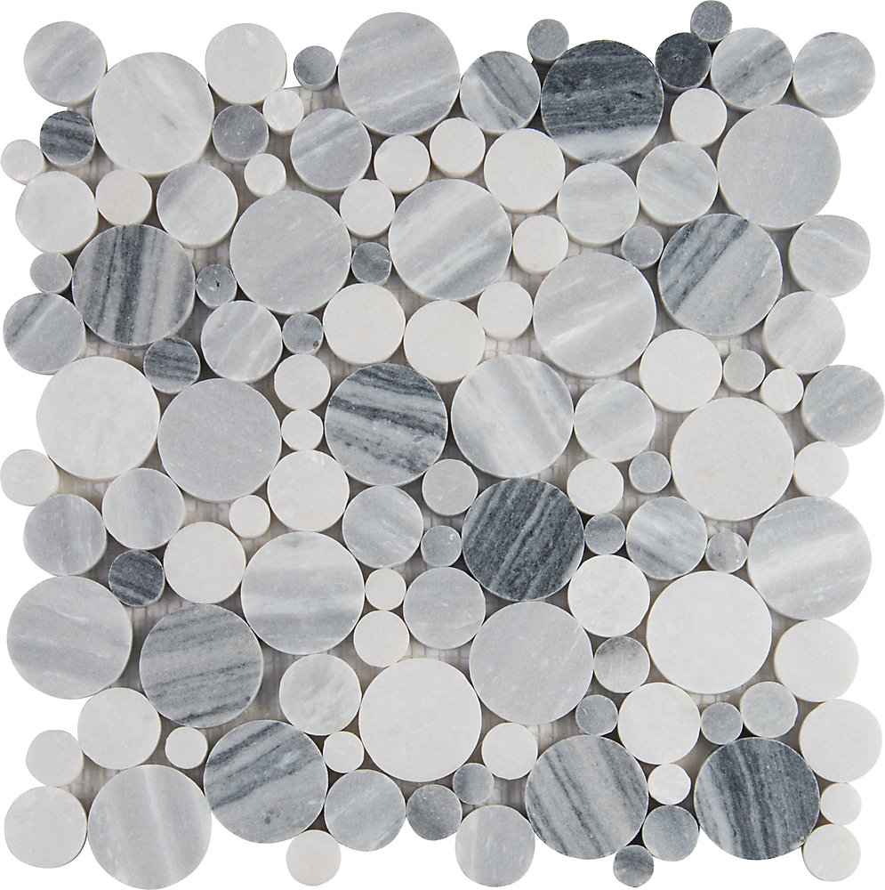 Alaska Gray Pebble 12-inch x 12-inch Polished Marble Mesh-Mounted Mosaic Tile (10 sq. ft. / case)