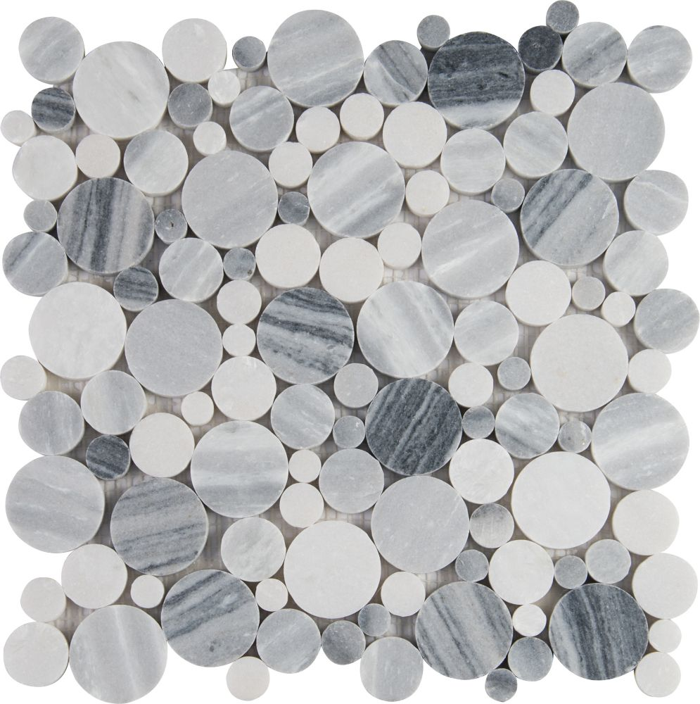 MSI Stone ULC Alaska Gray Pebble 12-inch x 12-inch Polished Marble Mesh-Mounted Mosaic Tile (10 sq. ft. / case)