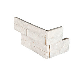 Arctic White Ledger Corner 6-inch x 18-inch Natural Marble Wall Tile (4.5 sq. ft. / Case)