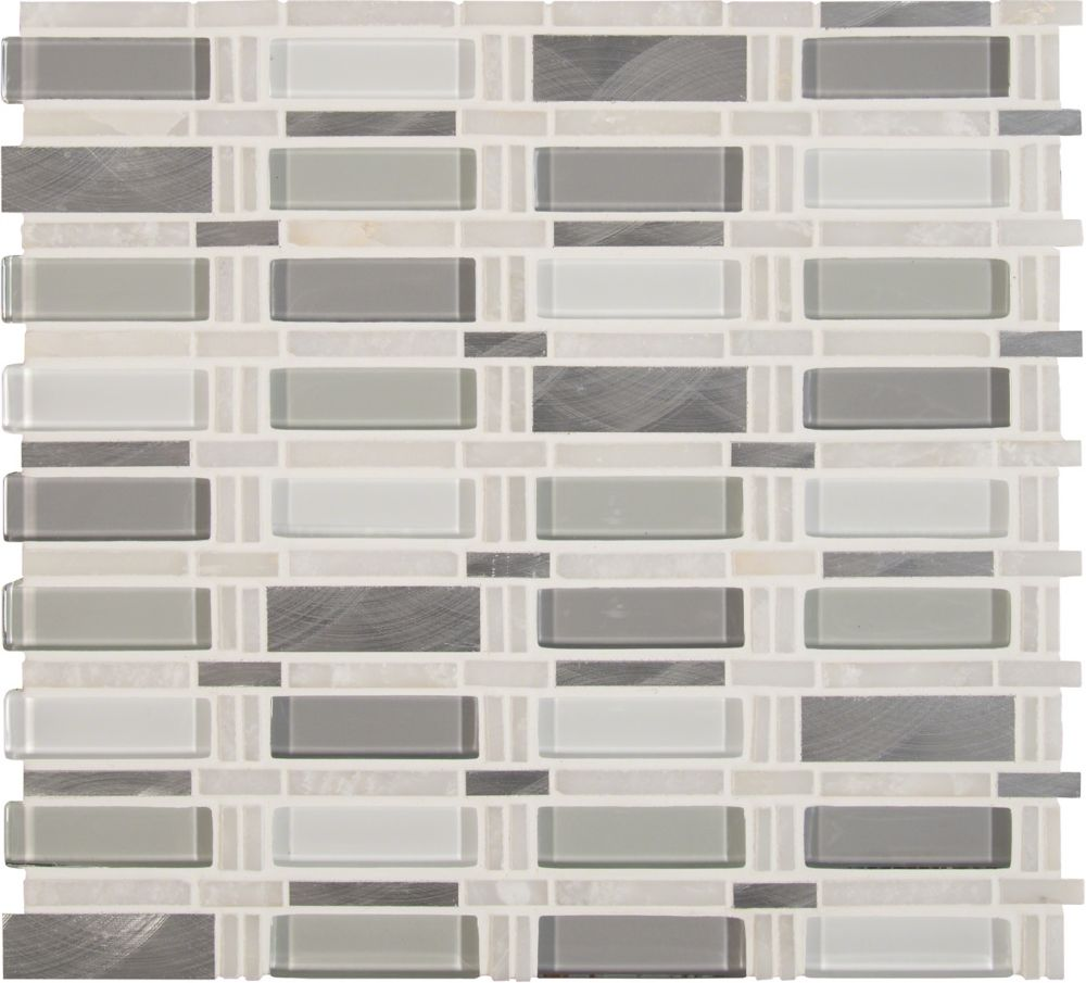 MSI Stone ULC Icelandic Blend Pattern 12-inchx12-inch Glass Metal Stone Mesh-Mounted Mosaic Tile (10 sq. ft./case)