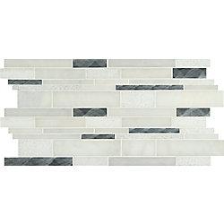 MSI Stone ULC Moderno Blanco Interlocking 12-inch x18-inch Metal/Stone Blend Mesh-Mounted MosaicTile(15sq.ft./case)