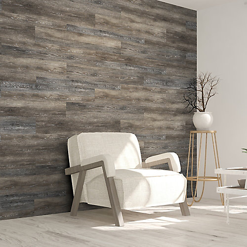 Multi-Width x 47.6-inch Dark Grey Vinyl Wall Plank (39.67 sq. ft. / case)