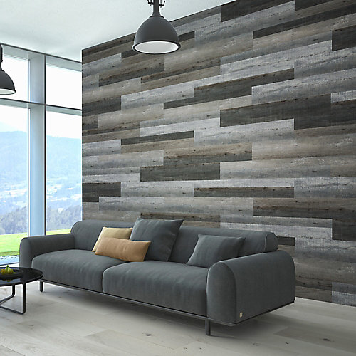 Multi-Width x 47.6-inch Night Grey Vinyl Wall Plank (39.67 sq. ft. / case)