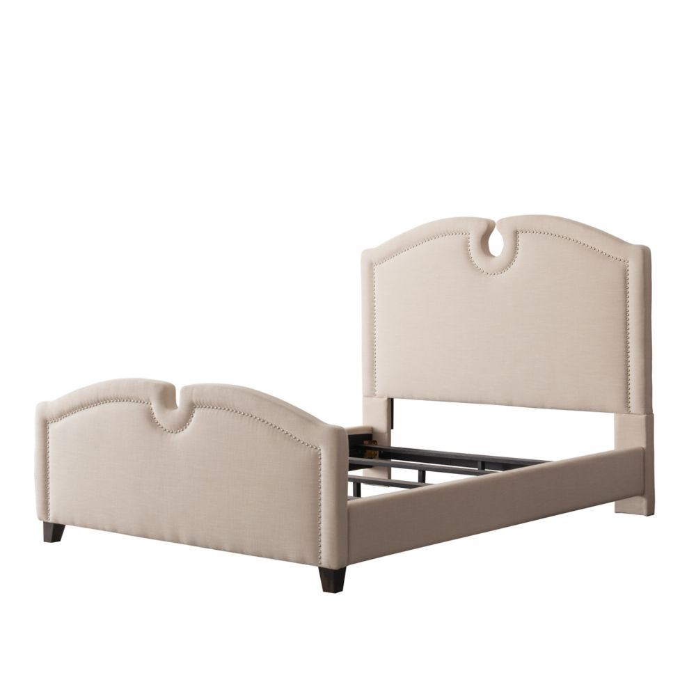 Corliving Fairfield Cream Fabric Curved Top Bed, Queen