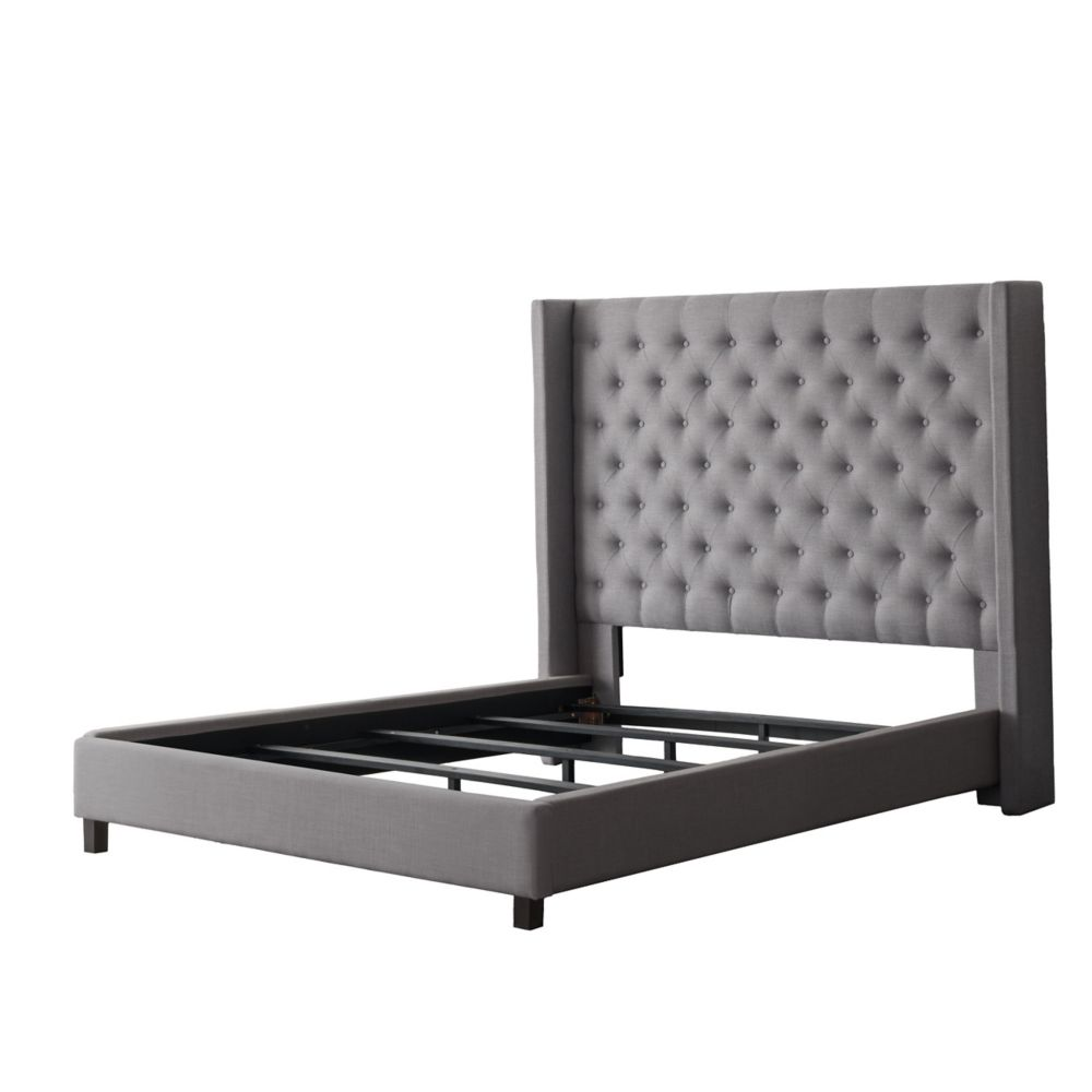 Corliving Fairfield Grey Tufted Fabric Bed with Wings, Full/Double