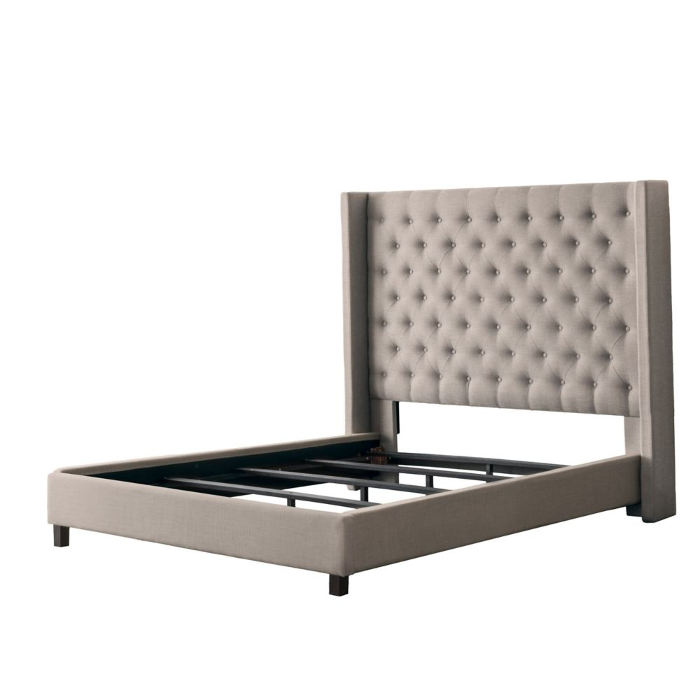 Corliving Fairfield Beige Tufted Fabric Bed with Wings, Full/Double