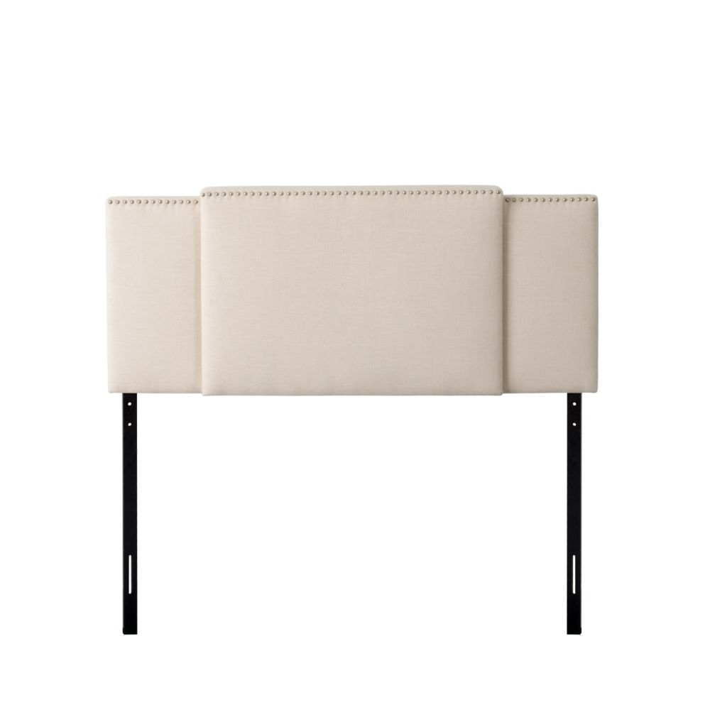 Corliving Fairfield 3-in-1 Expandable Panel Headboard, Double, Queen or King, Cream Padded Fabric