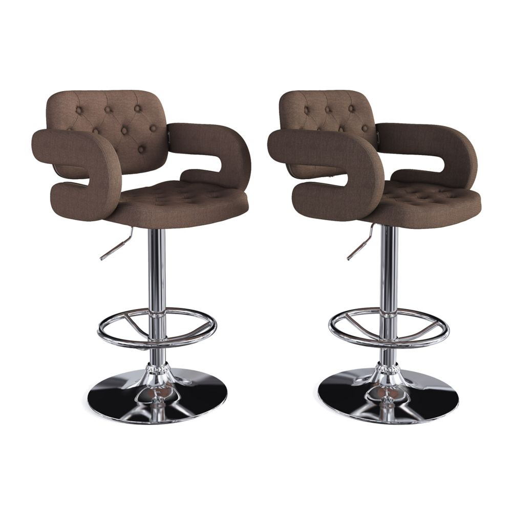 Corliving Adjustable Tufted Dark Brown Fabric Barstool with Armrests (Set of 2)