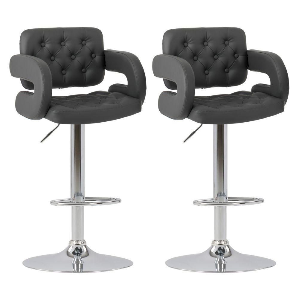 Corliving Adjustable Tufted Dark Grey Bonded Leather Barstool with Armrests, set of 2