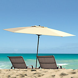 Corliving 7.5 ft. UV and Wind Resistant Warm White Beach/Patio Umbrella
