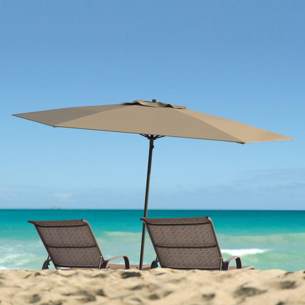 Corliving Parasol de patio/plage résistant aux rayons UV et au vent, brun